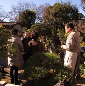 園内にいる樹齢数百年の伝統盆栽を囲みながら冬越しの方法や園の様子をレクチャ